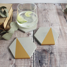 Load image into Gallery viewer, Gold Concrete Hexagon Coasters