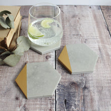 Load image into Gallery viewer, Gold Edge Hexagon Concrete Coasters