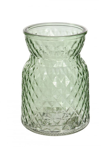 Green textured glass vase