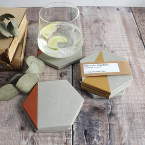 Gold Edge Hexagon Concrete Coasters