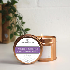 Tin Candle - Jasmine and Patchouli scent