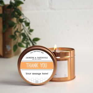 Personalised Thank you Tin Candle