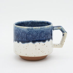 Half Blue and White porcelain mug