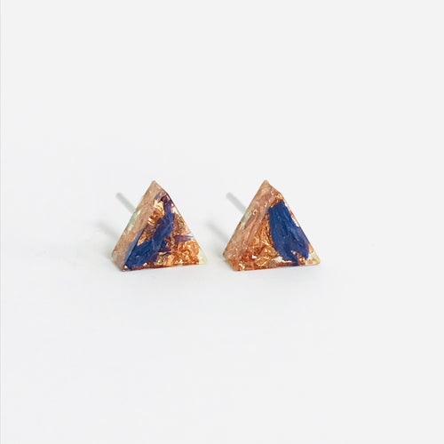 Blue and Copper resin triangle stud earrings