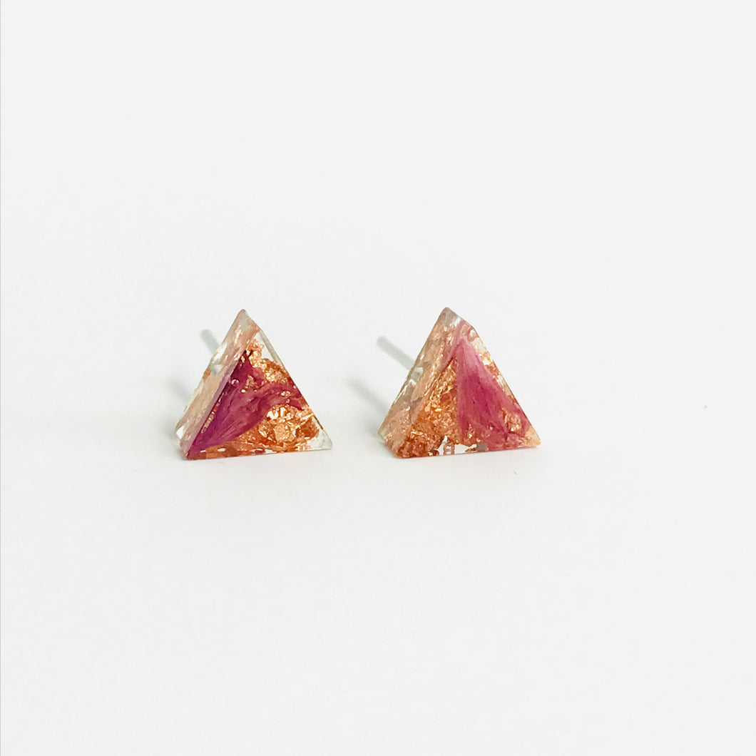 Pink and Copper resin triangle stud earrings