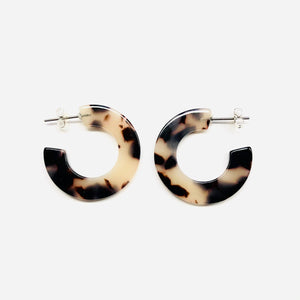 C Hoop tortoise shell resin earrings