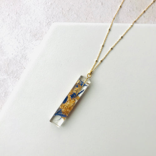Rectangle Resin Pendant - Gold & Blue