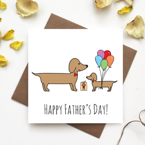 Dachshund Fathers Day Greeting Card
