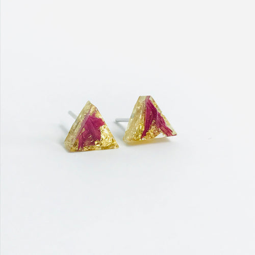 Pink and Gold resin triangle stud earrings