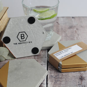 Gold Concrete Hexagon Coasters