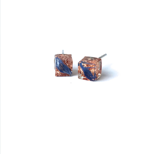 Copper Leaf and Blue Flower Petal Resin Cube Stud Earrings