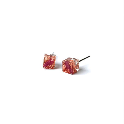 Copper Leaf and Pink flower petal resin cube stud earring