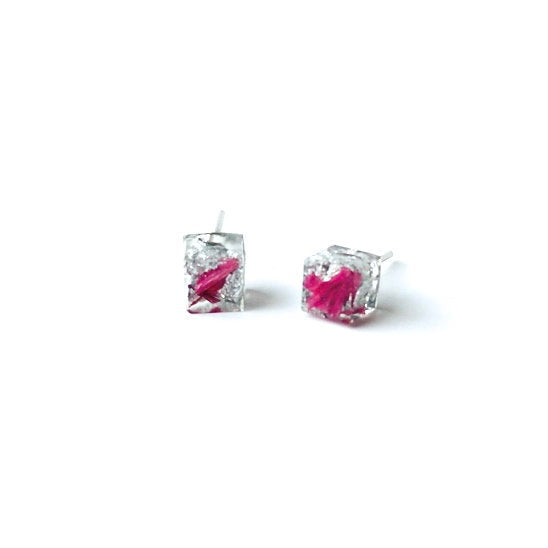 Silver Leaf and Pink Flower Petal Resin cube stud earrings