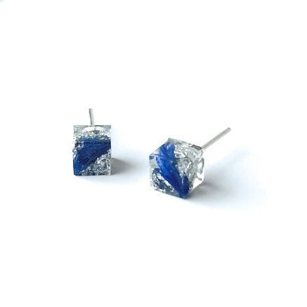 Silver Leaf and Blue Flower Petal Resin cube stud earrings