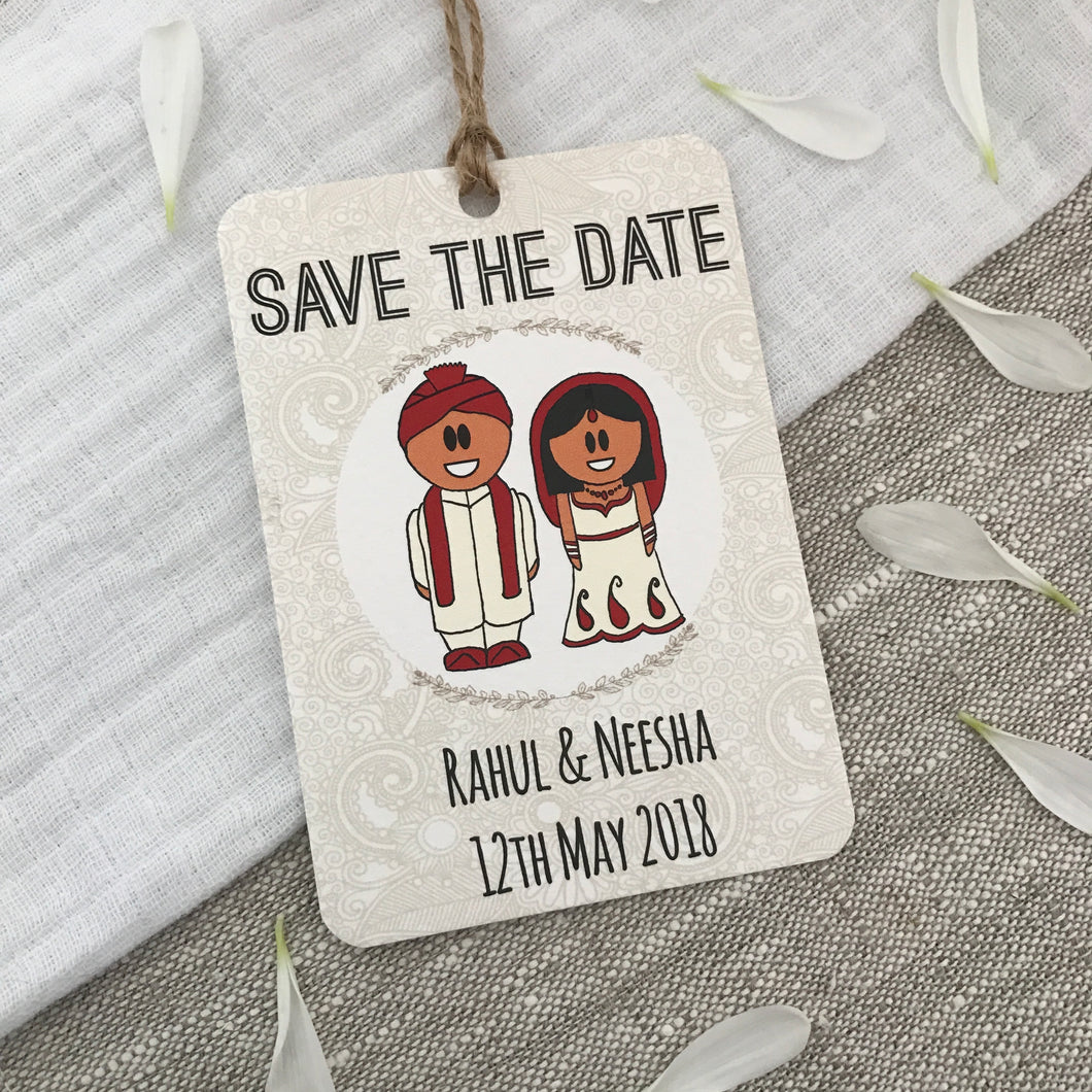 Indian Hindu Dress Save the Date Wedding Magnet