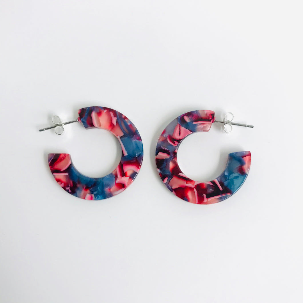 C-shape Colourful Hoop resin earrings