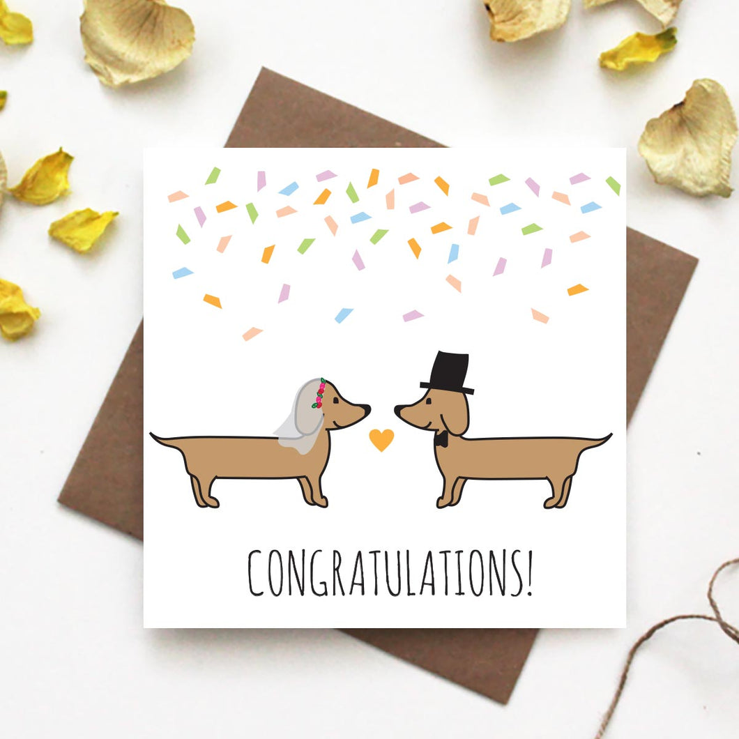 Dachshund Congratulations Wedding Card