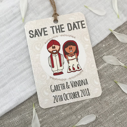Indian Sikh Dress Save the Date Wedding Magnet