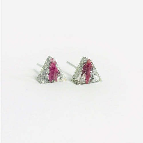 Pink and Silver resin triangle stud earrings