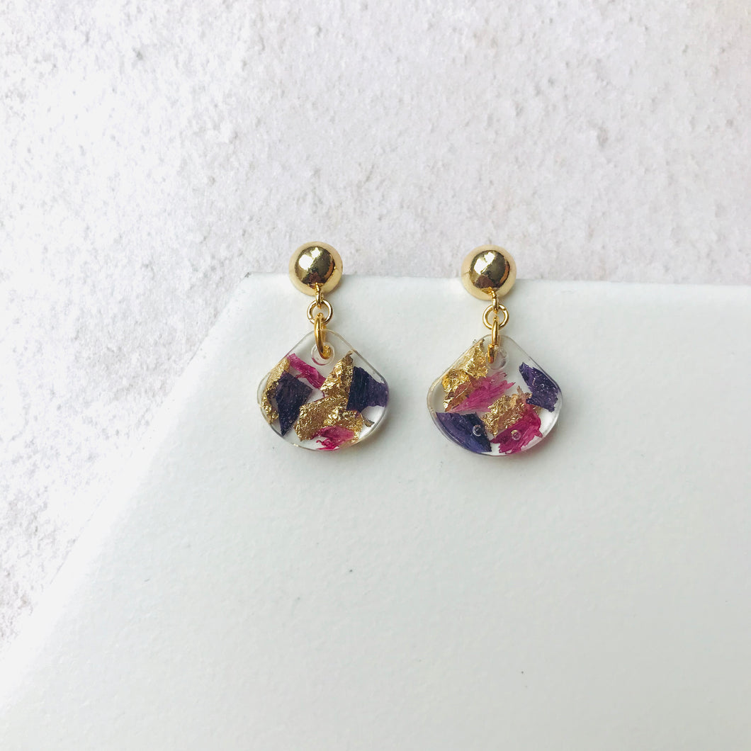 Small Gold Drop Resin Earrings