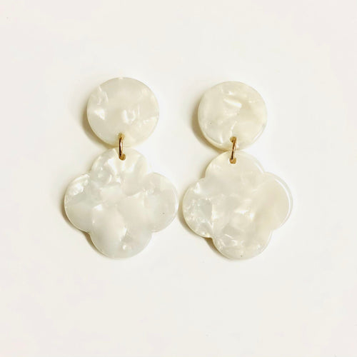 White pearlescent drop resin earrings