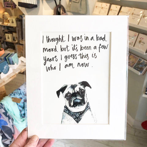 Grumpy Pug Print by Tipperley Hill
