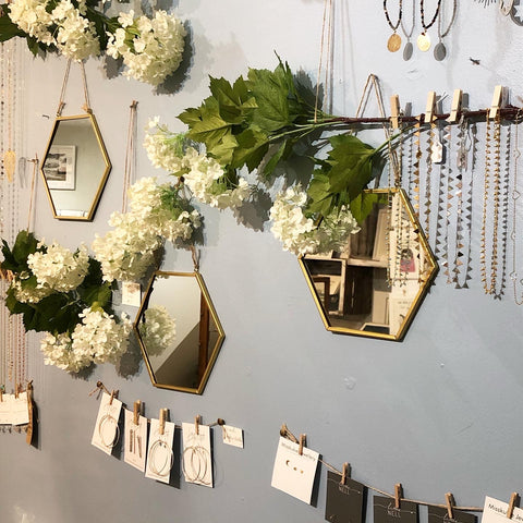 Our jewellery wall with our spring and summer 2020 collections
