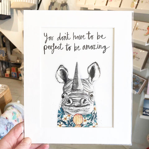 Rhino art print, perfect for a child's bedroom
