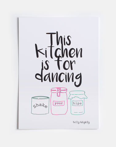 The kitchen is for dancing linoprint
