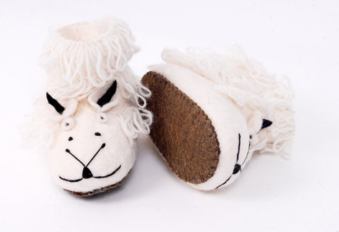 Handmade felt sheep slippers available online or in store at Little Beach Boutique