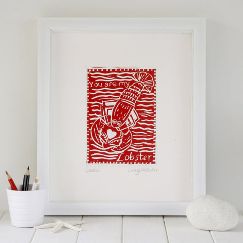 Lobster Lino Print Lucky Lobster Art