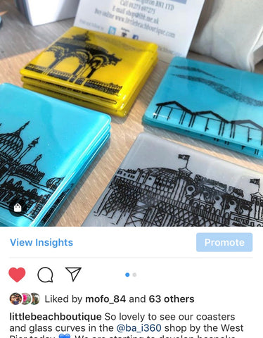 Our wholesale coasters in the BAi360 shop on Brighton seafront
