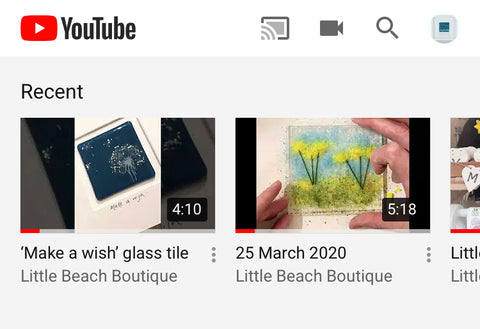 Find Little beach Boutique glass tutorials on you tube