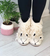 Curly Fringed Sheep Slippers in Adult Sizes