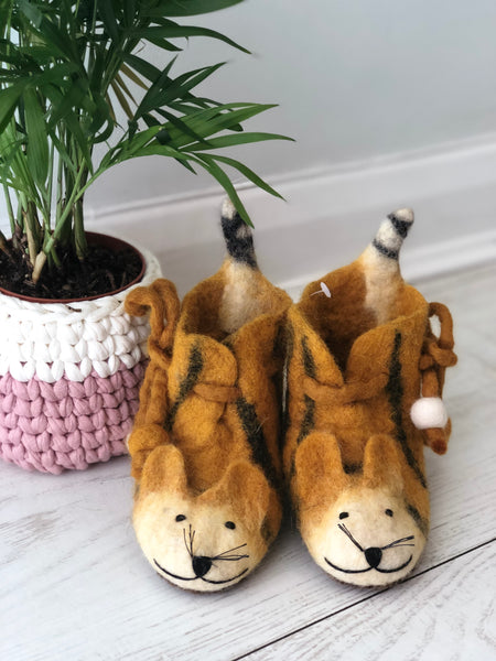 Just Grrrrreat Felted Tiger Slippers