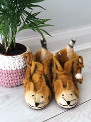 Children's Tiger Slippers, Felt Animal Booties for Kids, Novelty Slippers
