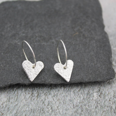 Sterling silver textured heart hoops