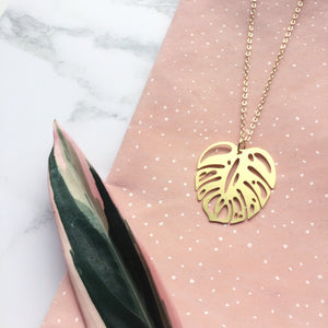 Gold Cheese Plant Necklace