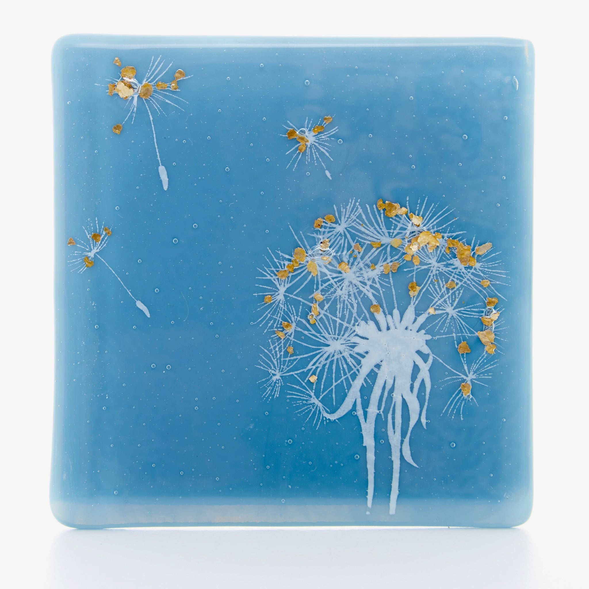 Dandelion Coaster in white with gold flakes