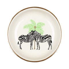 Zebra & Palm Gilt Edged Jewellery Dish