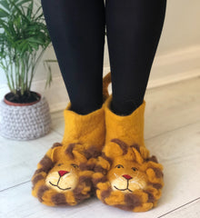 Felted Lion Slippers in adult sizes, soft animal booties