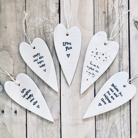 Porcelain Elongated Heart Decoration