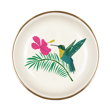 Hummingbird Gilt Edged Jewellery Dish, Ring Dish