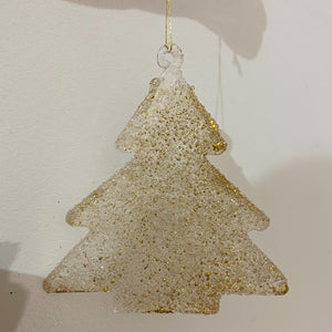 Gold glitter glass christmas tree