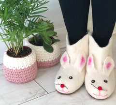 Felt Rabbit Slippers, Soft Felted Booties in Adult Sizes