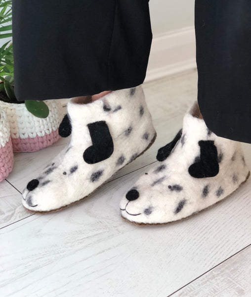 Pawsitively Perfect Felted Dog Slippers - Adult Sizes
