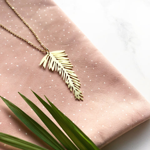 Gold Palm Leaf Necklace, Tropical Necklace, Mica Peet