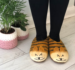 Felt Tiger Slippers for Adults