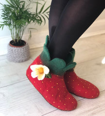 Felt Strawberry Slippers in adult sizes, soft red booties for the home