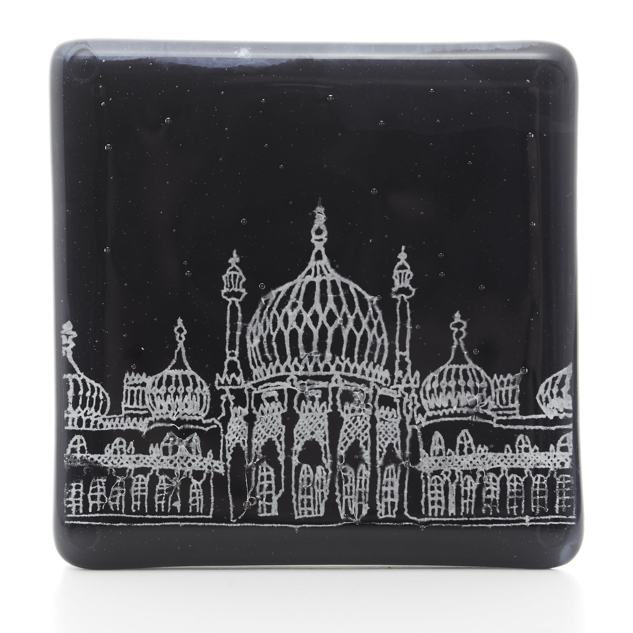 Royal Pavilion Glass Coaster in white